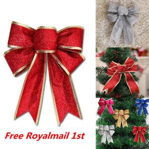 10PCS Large Bows Bowknot Christmas Tree Ornaments XMAS Holiday Party Home Decor