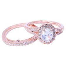Ring Set Luxury Oval White Sapphire Dual 14K Solid Rose Gold Diamond Jewelry CQ