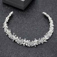 Silver Crystal Bridal Hair Vine Pearl Wedding Hair Jewelry Headpiece Women Crown