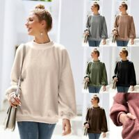 Women Blouse Fluffy Long Sleeve Sweater Casual Loose Pullover Shirt Jumper Tops