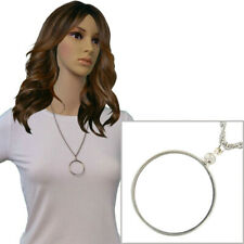 Silver Tone Mount Your Own Coin Holder Pendant Chain Necklace 38.5mm