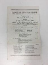 Frieda Hempel 1924 Program of Jenny Lind Music Lawrence Memorial Chapel Vintage