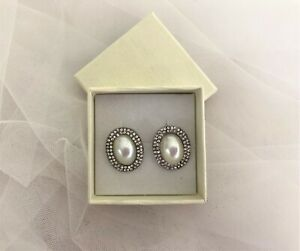 Bridal Prom Oval Cluster Earrings Stud faux pearl with diamante in silver tone
