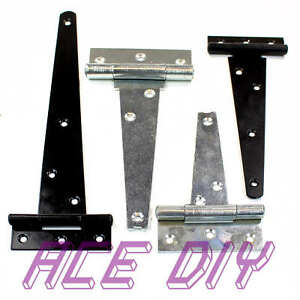 Tee Hinge Black or Heavy Duty BZP T Hinge | Cabinet Door Shed Gate Strong Secure