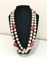 Vintage Long Faux Pearl And Red Beaded Necklace Art Deco Flapper Barrel Clasp