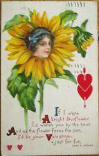 Flowerface/Flower Face 1915 Color Litho Postcard w/Helen E. Jeffers Poem