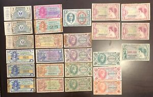 Lot of 25 MPC Military Payment Certificates 5, 10, 25, 50 cents, $1.00