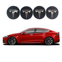 4x 58mm Tesla noir argent jantes couvercle moyeux capuchon roue enjoliveur caché