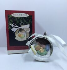 Hallmark Ornament Baby's First Christmas 1995 Silver Cup Sleeping Teddy Bear Mib