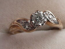 Q72 Ladies 9k gold 0.25 ct F/SI1 solitaire Diamond engagement ring size L 1/2