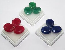 Elegant Natural Oval Shape  Emerald, Ruby & Blue Sapphire Gems 64.40 Ct/ 9 Pcs