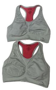 (2) L.L Bean Gray Stretchy Racerback Sports Bra's Women's Size Large