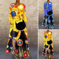 ZANZEA 8-24 Women V Neck Long Sleeve Maxi Dress Vintage Printed Floral Dress