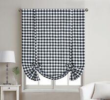 1 Piece Buffalo Check Plaid Gingham Rod Pocket Window Tie Up Shade Curtain Panel