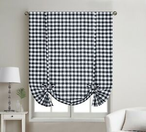 1 Piece Buffalo Check Plaid Gingham Rod Pocket Window Tie Up Shade Curtain Panel