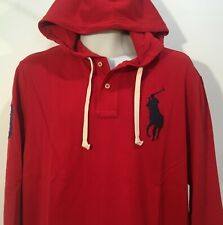 Polo Ralph Lauren Men's Mesh Cotton Hoodie Red Big Polo Logo LS Size M NWT