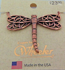"Copper Pendant 18"" Chain Necklace Wheeler Healing Arthritis Dragon Fly CN 154"