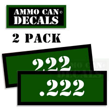 "Ammo Can Labels 222 Ammunition Case sticker decals 2 pack GREEN 3""x1.15"""