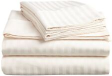 Ivory Stripe Bed Sheet Set All Extra Deep Pkt & Sizes 1000 Tc Pure Egypt Cotton