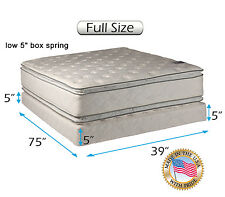 Double-sided Soft PillowTop Mattress and Low Height Box Spring Set (Full size)
