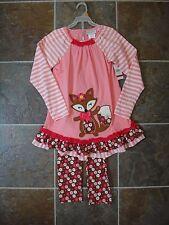 NWT Girls EMILY ROSE 2 Piece Long Sleeve Shirt & Legging outfit Pink Fox Sz 3T
