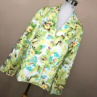 New Coldwater Creek 1X Jacket Linen Green Yellow Floral Flower Button Front M3