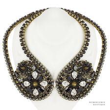 Erickson Beamon Gold Tone Black Crystal Spike Night Porter Collar Necklace