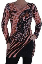 Womens Casual Leopard Animal Print Jumper Sweater Long Sleeve Pullover Tops