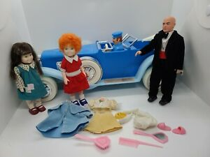 Annie Blue Limo Toy Car Annie Doll, Friend, Daddy warbucks Nickerbocker 1982