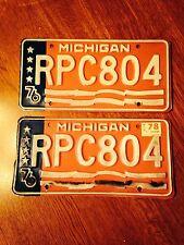 Vintage MIchigan Bicentenial License Plates- Pair of 2- 1976- w/ 1978 tag