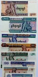 MYANMAR 1-500 Kyats 50 Pyas 8Pcs SET GREAT COLOURFUL UNCIRCULATED BANKNOTES