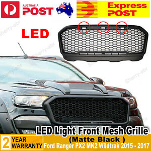 For Ford Ranger PX2 MK2 Wildtrak 15-17 Front Matte Black Grill Mustang Style LED