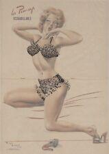 """""""REVEIL DE PIN-UP""""Affiche originale entoilée Offset Roger BRARD 1950-51 34x51cm"""