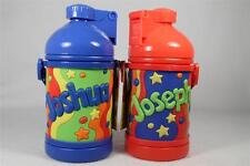 My Name Drink Bottle 'Joseph' Soft, Colorful RED With Built in Straw NEW!