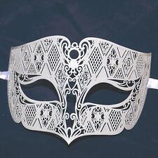 White Men's Smoking Venetian Metal Filigree Masquerade Mask Masked Ball Party