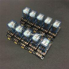 10sets Power Relay My3nj Dc 12v 24v 110v 220v Ac 11pin 5a Hh53p With Socket Base