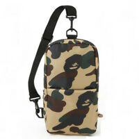 Mens BAPE A BATHING APE Green Camo Sling Shoulder Bag Handbag Chest Pack Purse