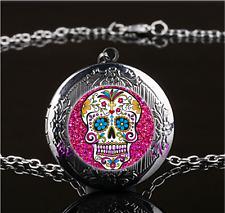 Rose Sugar Skull Photo Glass Gun Black Chain Locket Pendant Necklace