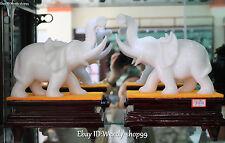 "11"" Natural White Jade Handmade Fengshui Auspicious Elephant Animal Statue Pair"