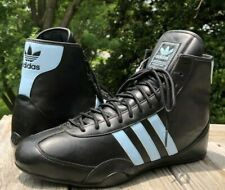 Adidas Canvas Wrestling Shoes Size 11.5 Black Blue Leather RARE