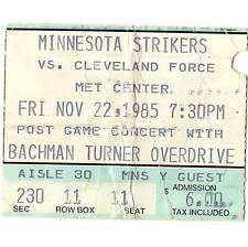 Bachman Turner Overdrive Concert Ticket Stub Mn Strikers Soccer Game 11/22/85