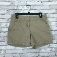 J Crew Womens Classic Twill Chino Shorts 100% Cotton City Fit Solid Beige Size 4