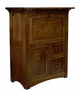 Amish Mission Computer Armoire Secretary Desk Solid Wood Office Furniture Felix