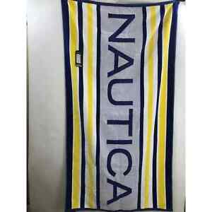 Nautica blue white yellow striped Beach Pool Towel New