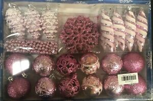 Pink Variety Box Christmas Tree Ornaments Xmas Baubles Home Party Decoration