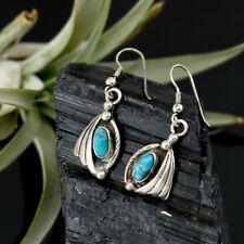 Vtg Sterling Silver Navajo Spiderweb Turquoise Dangle Earrings