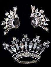 Vtg 1947 Philippe TRIFARI Sterling Rhinestone CROWN Figural Pin & Earrings Set