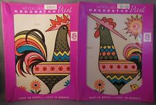 2 Vintage Meyercord Decals Chickens Rooster Hen Chick 1528C 1528D