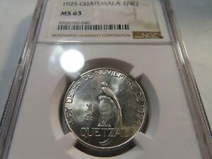 W69 Guatemala 1925 1/4 Quetzal NGC MS-63