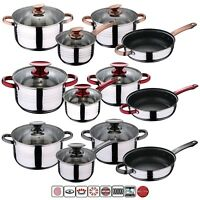 7 Pcs STAINLESS STEEL INDUCTION HOB COOKWARE CASSEROLE POT SAUCEPAN DINING SET